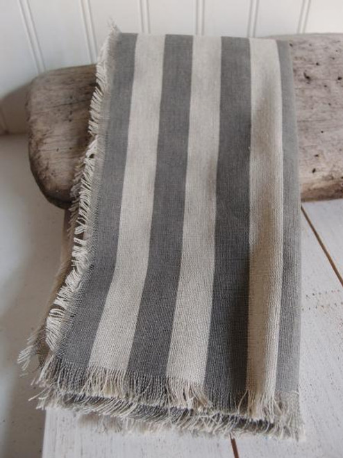 "19 1/2""x19 1/2"" Solid Pewter Gray Stripes Linen Sheet with Fringed Edge"