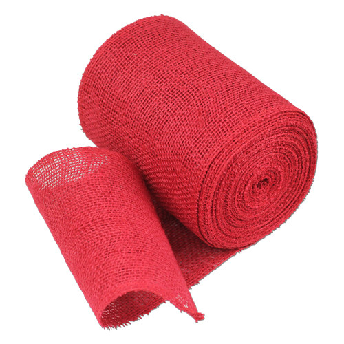 "6""x10Y Red Burlap Table Runner"