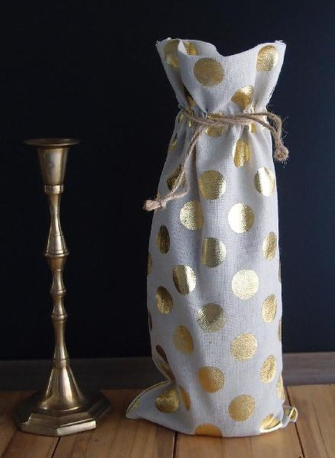 Linen Wine Bags, Wholesale Wine Bags, Linen Wine Bag with Gold Metallic Dots | Packaging Decor