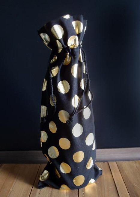"6""x14"" Black Cotton Wine Bag with Gold Metallic Dots"