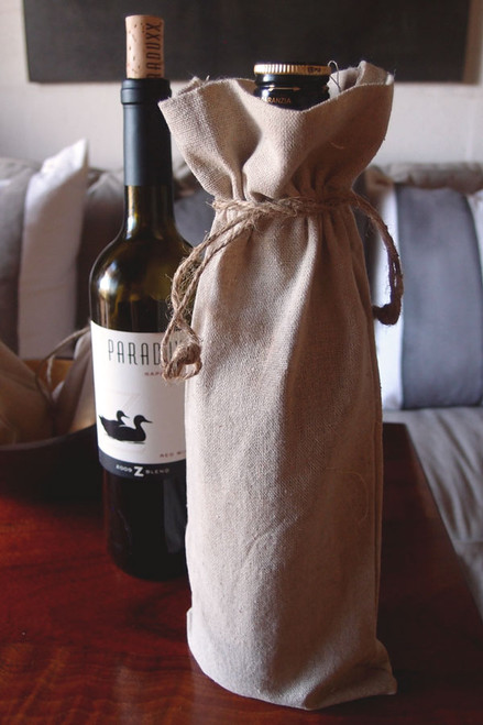 "Linen Wine Bag with Jute Cord 6"" x 14"""