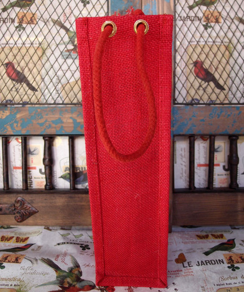 Red Jute Wine Bag with Rope Handle