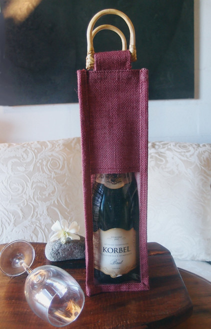 Burgundy Jute Wine Bag with Cane Handle & Clear Window