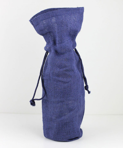 Navy Blue Jute Wine Bag