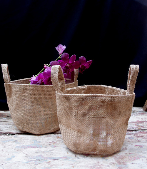 "Jute Round Pot Basket 6 1/2"" Diameter x 6"" H"