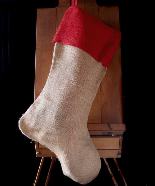Red Cuff  Burlap Christmas Stocking 24""