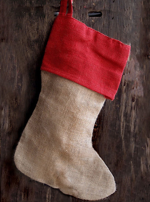 Red Cuff Burlap Christmas Stocking 17""