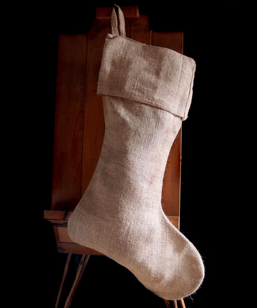 Natural Burlap Christmas Stocking 24""