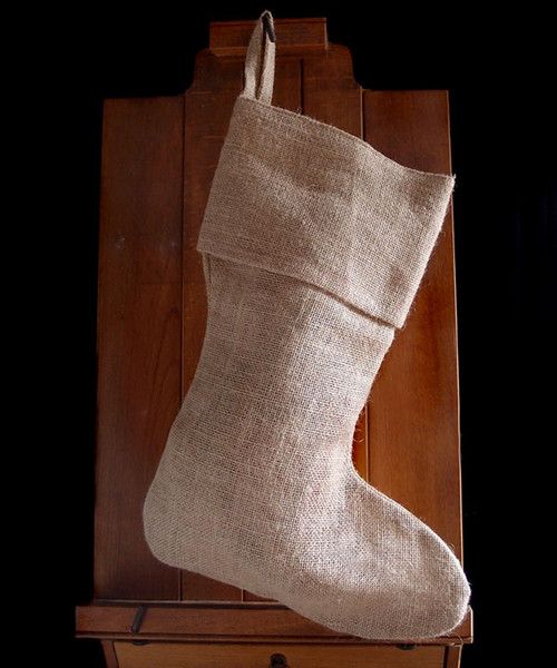 Natural Burlap Christmas Stocking 17""