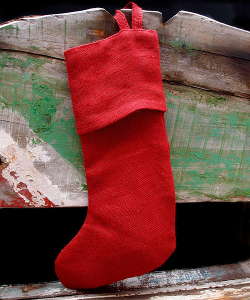 "Red Burlap Christmas Stocking 16"""