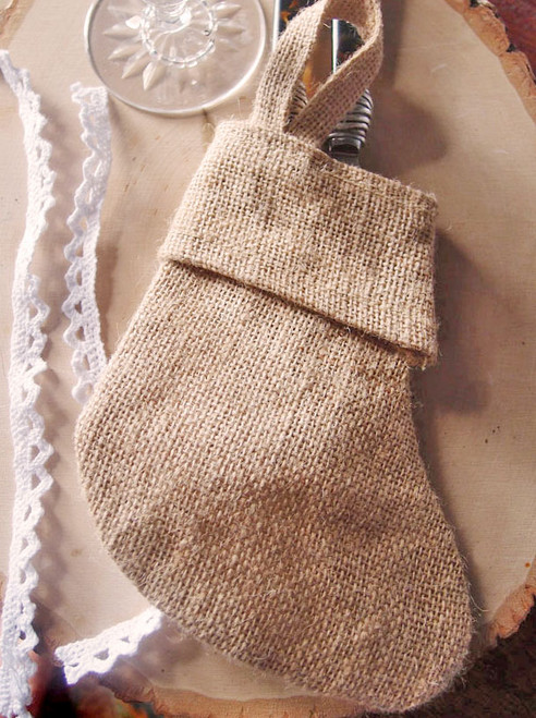 Natural Burlap Christmas Stocking 6""