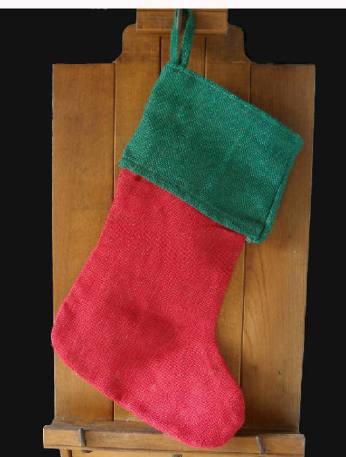 Red and Green Burlap Christmas Stocking with Cotton Lining 17""
