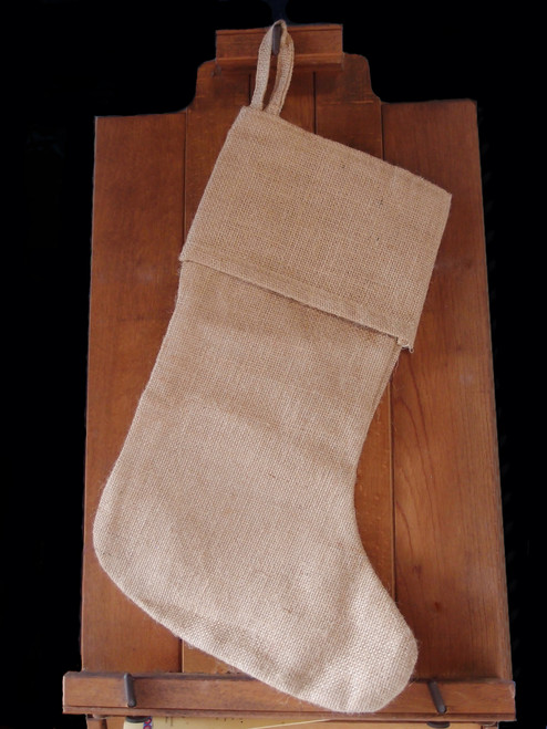 Natural Burlap Christmas Stocking with Cotton Lining 17""