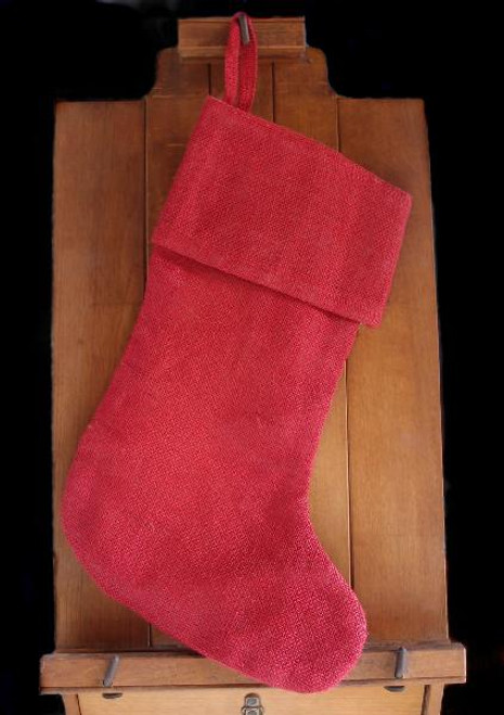 Red Burlap Christmas Stocking with Cotton Lining 17""