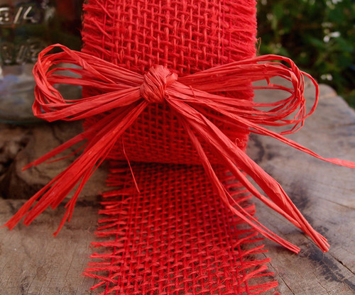 """4"""" Red Raffia Pre-Tied Bow w/Twist-tie"""