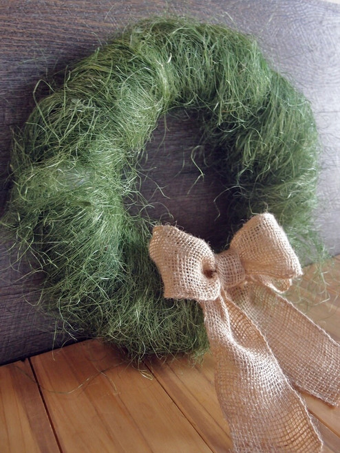 Moss Green Sisal Fiber with Burlap Ribbon, Wholesale Sisal Fiber | Packaging Decor