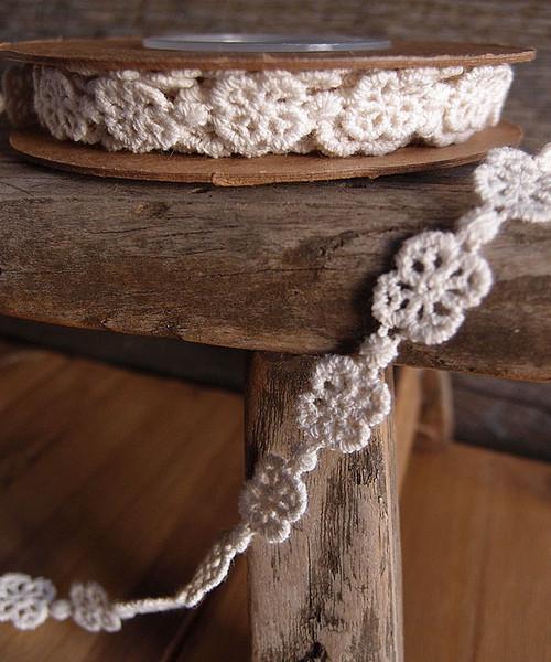 Ivory Clover Rosette Cotton Floral Lace Trim Ribbon
