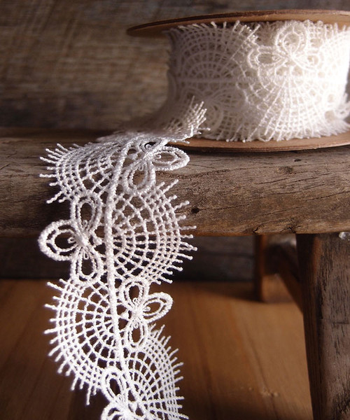 Embroidered Ivory Floral Lace Trim Ribbon