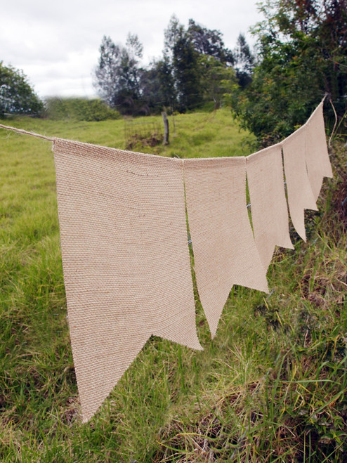 Natural Burlap Swallow Tail Pennant Banner with Jute Cord
