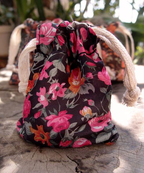 Vintage Floral Print on Black Bag with Hot Pink & Orange Roses
