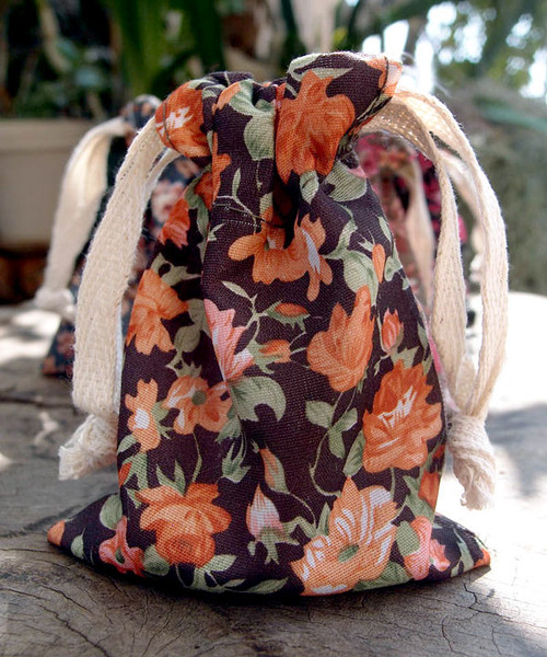 Vintage Floral Print on Black Bag  with Orange Roses