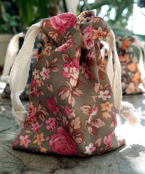 Vintage Floral Print on Olive Bag with Pink Roses