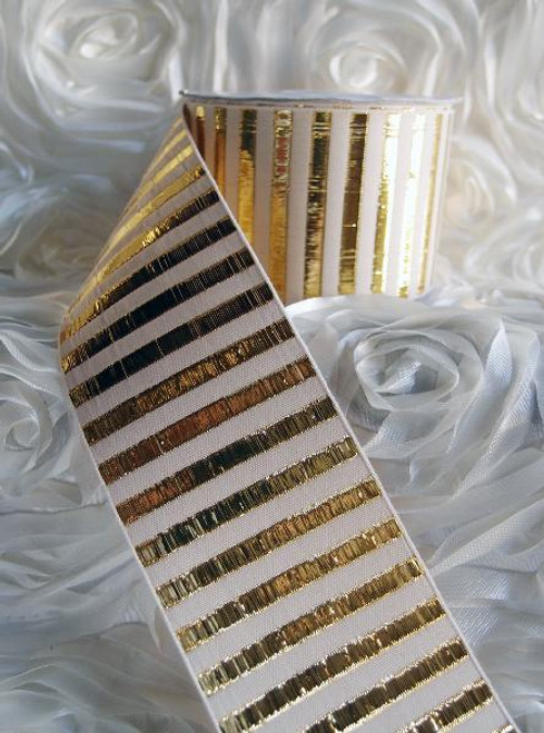 Gold Metallic Horizontal Striped Ribbon (2 sizes)