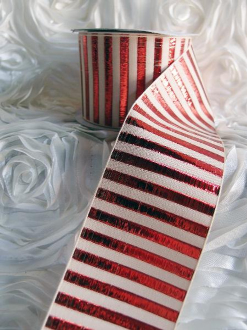 Red Metallic Horizontal Striped Ribbon (2 sizes)