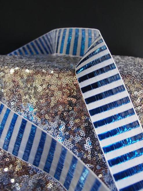 Royal Blue Metallic Horizontal Striped Ribbon, Wholesale Ribbon | Packaging Decor