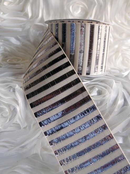 Silver Metallic Horizontal Striped Ribbon (2 sizes)