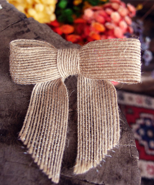 "Natural Jute Pre-tied 3"" Bow w/Twist-tie"