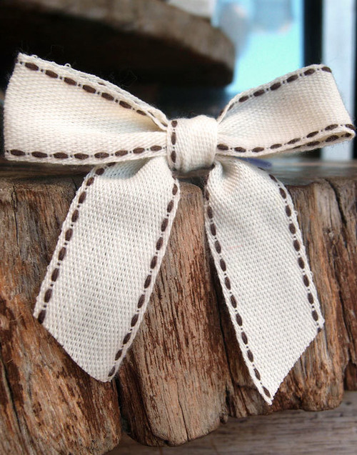 Brown Stitched Canvas Pre-tied Bow w/Twist-tie