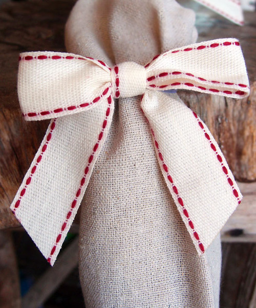 Red Stitched Canvas Pre-tied Bow w/Twist-tie