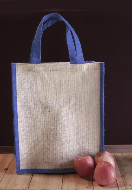 "Jute 14"" Tote with Navy Blue Trim"