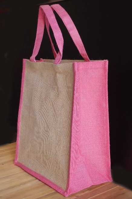 "Jute 14"" Tote with Pink Trim"