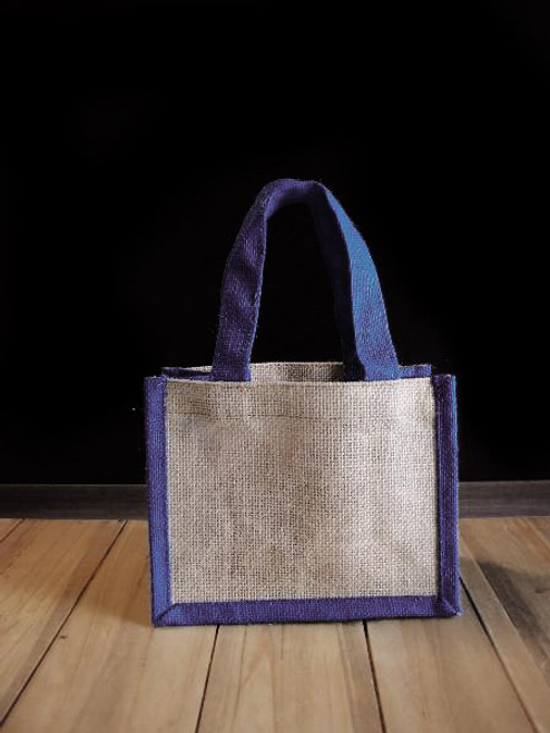 Small Jute Tote with Navy Blue Trim
