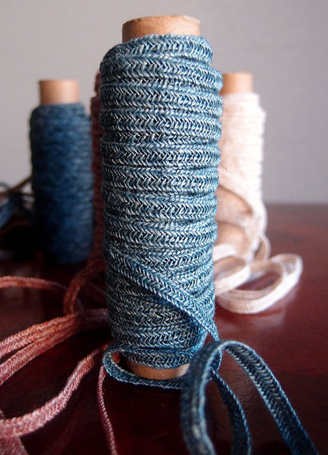 Blue Faux Linen Braided Cord