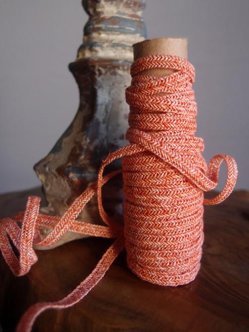 Orange Faux Linen Braided Cord