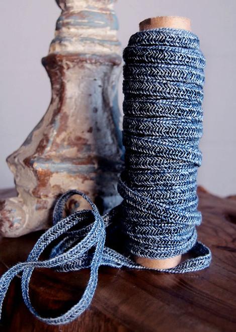 Denim Navy Faux Linen Braided Cord