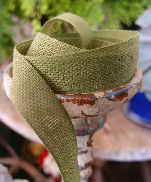 Moss Green Linen/Cotton Blend Ribbon