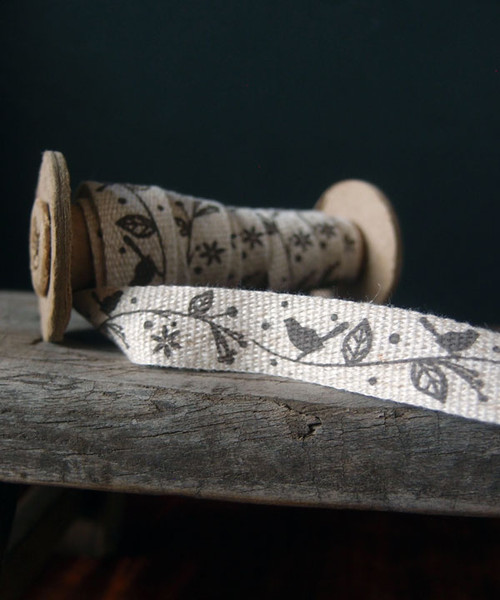 Bird & Tree Printed Linen/Cotton Blend Ribbon