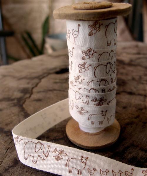Brown Nursery Animal Parade Printed Cotton Ribbon