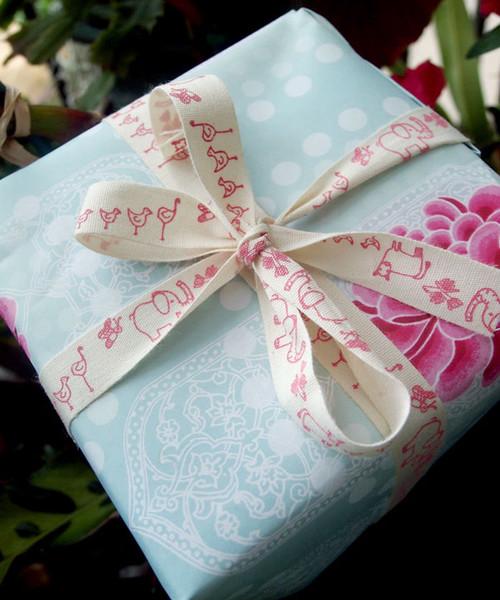 Pink Nursery Animal Parade Printed Cotton Ribbon