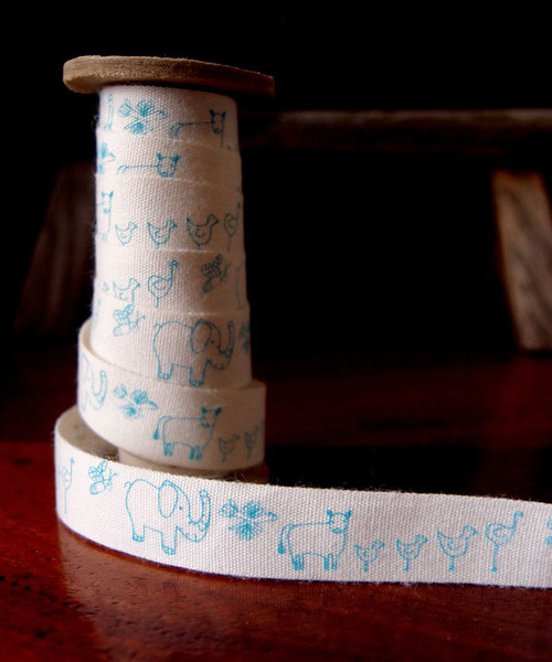 Blue Nursery Animal Parade Printed Cotton Ribbon