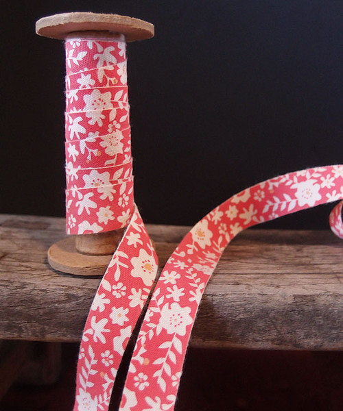 Red Floral Printed Cotton Ribbon