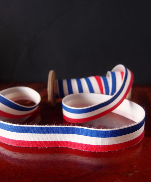 Red White and Blue Printed Cotton Ribbon