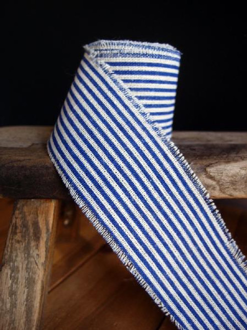 Blue Striped Linen Ribbon (3 sizes)