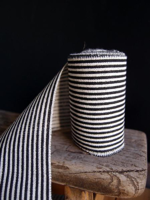 Black Striped Linen Ribbon (3 sizes)