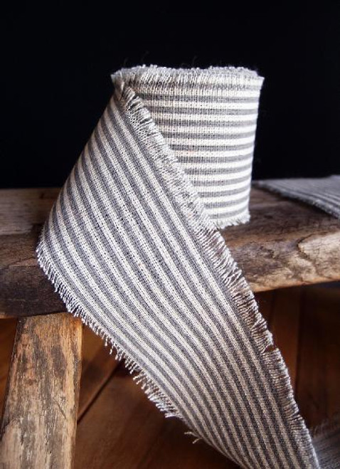 Pewter Gray Striped Linen Ribbon (3 sizes)