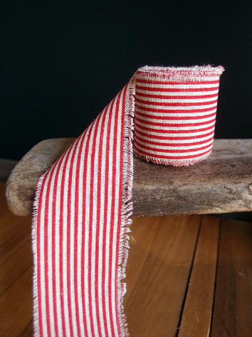 Red Striped Linen Ribbon (3 sizes)
